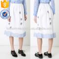 New Fashion 2019 Floral Embroidery Multicolored Cotton Midi Summer Skirt Manufacture Wholesale Fashion Women Apparel (TA0033S)