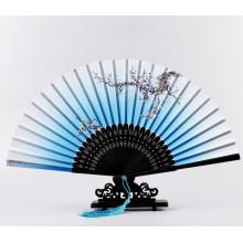 ventilador de mão de casamento de bambu de resistência de alta temperatura personalizado