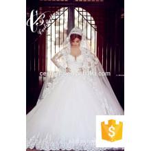 Vestido de boda nupcial árabe del vestido de bola de la nueva llegada 2017 con el tren largo pesado del diamante los 2M