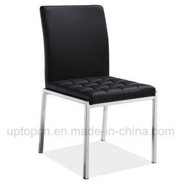 Modern Stainless Steel Black Cafe Dining Leather Chair (SP-LC275)