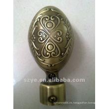 L04 22mm forma de huevo de latón de cortina de vástago final tapa finials