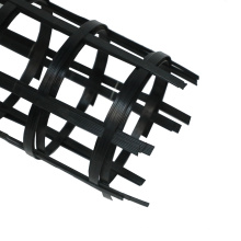 Two-way welding geogrid is used to strengthen soft foundations such as highway and railway slope protection