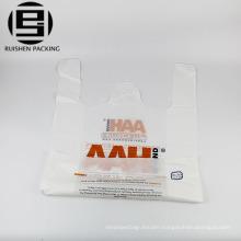 Printed hdpe t-shirt food packing handle bags