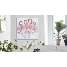 Red Flamingo Wall Art Detailed Handmade Oil Painting