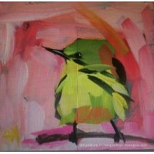 Peinture à l'huile d'oiseaux verts