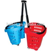 Mão loja da cesta com cesta plástica castor com roda de rolamento