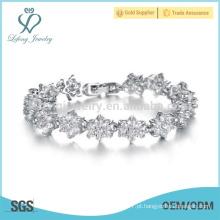 Crystal pulseira de prata para senhoras, braceletes de diamante pulseira para as mulheres