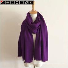 Inverno quente roxo longo espessura lã xale cachecol grande