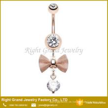 Bow - Tie klar Zirkonia baumeln Rose Gold Plated Chirurgenstahl Bauch Ring