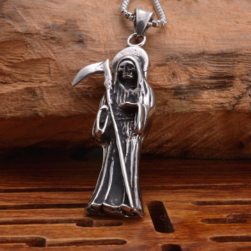 Mens Stainless Steel Punk Rock The Death Pendant