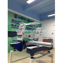 Single head commercial embroidery machine provides a large work area for bulky items.