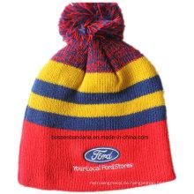Kundenspezifisches Logo gestickter Acryl Wolle Winter Ski Sport Warm gestrickte Beanie Hut