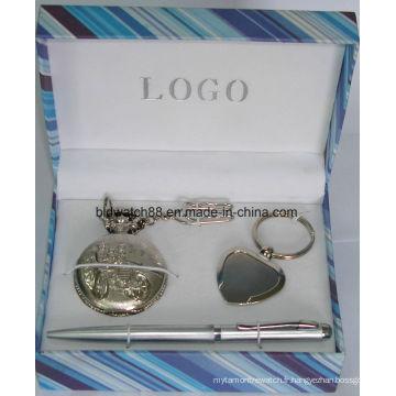 Ensemble cadeau montre de poche avec pendentif clé