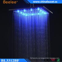 Lujosa ducha con cabezal de luz LED cuadrada de ahorro de agua de 12 pulgadas
