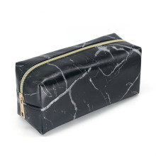 Ny Marmor Läder Strip Svart Flickor Makeup Bag