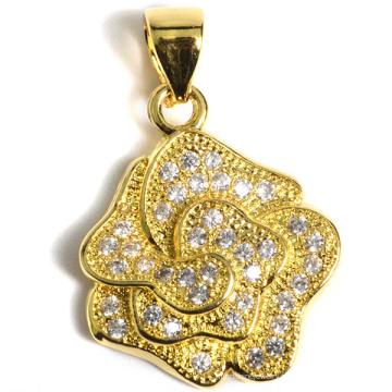 Fashiongold-Plated Flower - Pendentif en forme de bijoux fantaisie en cuivre environnemental