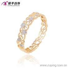 51365 Popular Fashion Elegant Royal Women′s Gold Jewelry Bangle with Flower