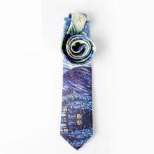High Quality Silk Screen Printing Men The Galaxy Necktie