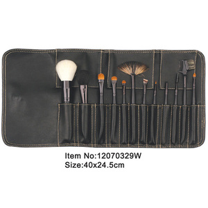 12pcs black plastic handle animal/nylon hair cosmetic tool set with black canvas case