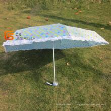 7k petit coeur impression bleu couvre 5-pliage parapluie (YSF502)