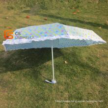7k Little Heart Printing Blue Cover 5-Folding Umbrella (YSF502)