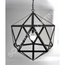 1-light steel polyhedron pendant chandelier