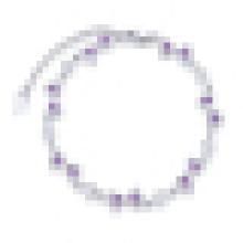 Bracelete de cristal roxo em forma de coração irregular 925 prata esterlina das mulheres