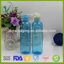 PET flip top cap vazio redondo transparente 180ml garrafa de plástico shampoo