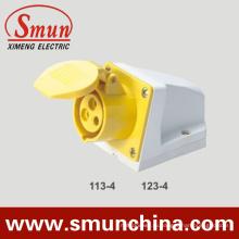 110-130В 2Р+Е разъем 3pin 4h промышленных настенное крепление гнезда IP44