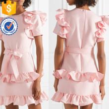 Con volantes de manga corta de algodón rosa mini vestido de verano con la fabricación de arco al por mayor de la moda de las mujeres de prendas de vestir (TA0286D)