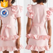 Ruffled manga curta rosa algodão mini vestido de verão com arco manufatura atacado moda feminina vestuário (ta0286d)