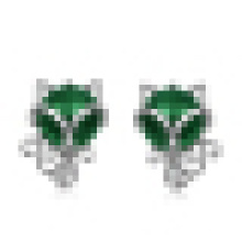 Women′s 925 Sterling Silver Fox -Shaped Earrings Inlay Green and Red Agate