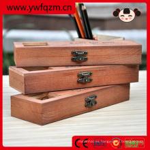 caja de lápices de madera hecha a mano multifunción con cerradura