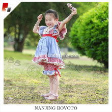 wholesale girls red checkered blue clothing sets