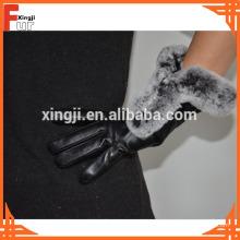 Rex Kaninchen Pelz getrimmte Lederhandschuhe