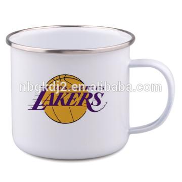 Logo printing custom enamelware cup, custom carbon steel enamel camping mug\pot