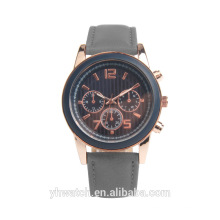 Multi Function Classic Men's Watch with Gray Leather Strap Cheap Price