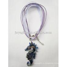 Подарочный подарок Lampwork Стекло ожерелье ожерелье Lampwork стекла Ожерелье квадратное стекло подвеска освещения с восковым шнуром
