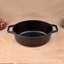 Oval Stew Pot Cast Iron Casserole Black Matt Enamel