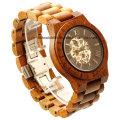 Haute qualité en bois grain chronographe montre unisexe en bois