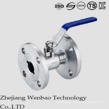 Válvula de bola embridada del acero inoxidable 1PC con la manija