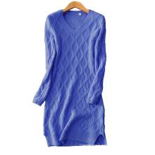 Women V neck 100% cashmere knitting dress slim fitting thick blue sexy knee length dress