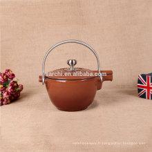 Bouilloire à thé émaillée à chaud avec deux poignées en acier inoxydable