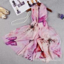 Мода двойной слой бабочки печатных китайский шелковый шарф с шерстью для леди