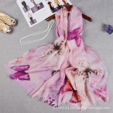 Fashion double layer butterfly printed chinese silk scarf with wool for lady