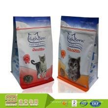 El logotipo de encargo imprimió el bolso de empaquetado del alimento del gato del top de la cremallera plana del papel de aluminio con el escudete lateral