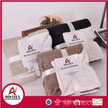 Preço razoável sólido tricotado sherpa cobertor micromink com borda encelop
