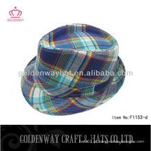 Atacado Checked formal party hat fedora hats unisex poliéster algodão