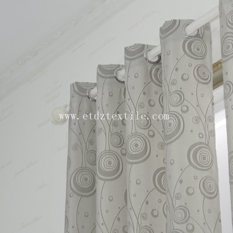Newest Jacquaed Flower Pattern Curtain WZQ203 Grey