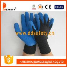 Blaue Latexbeschichtung 10 Gague Strickhandschuhe. Crinkle Finish (DKL327)